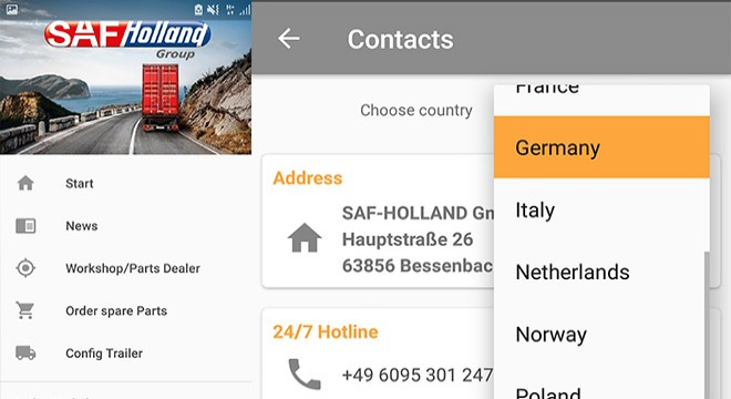 SAF-HOLLAND app with extended function in 15 languages